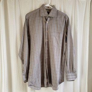 Peter Millar Long Sleeve Grey Plaid Shirt Mens Med